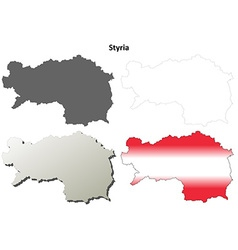 Styria blank detailed outline map set vector image