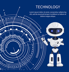 Technology banner with cyborg and white interface vector
