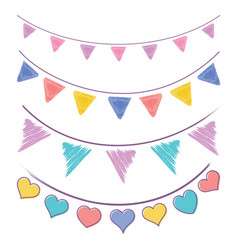 Vintage bunting flags and garlands vector