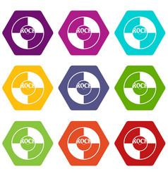 vinyl icon set color hexahedron vector image