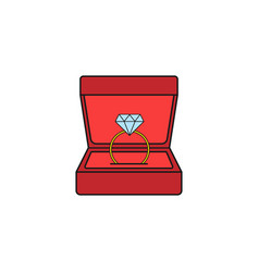 wedding diamond ring in gift box solid icon vector image
