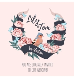 Wedding invitation with ribbon vector image