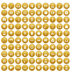 100 music icons set gold vector