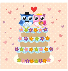 Owls couple and wedding cake vector
