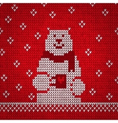 Knitted white bear warm vector