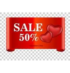 Red discount 50 percent off and sale on red ribbon vector