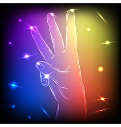 Neon hand three fingers vector