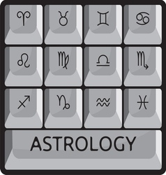 Zodiac astrology signs keyboard button set vector image