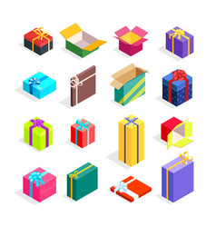 Isometric gift boxes set vector
