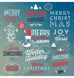 Collection of typographic christmas design vector