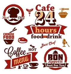 Food and restaurant labels icons vector