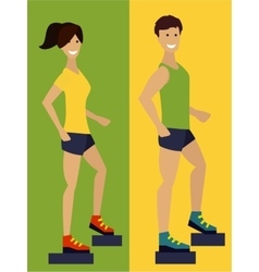 Exercising couple fitness man and woman flat vector