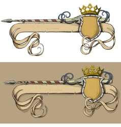Color banner spear and crown vector