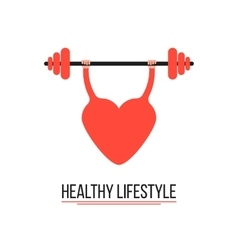 Concept of healthy lifestyle with training heart vector