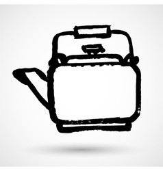 Vintage hand sketched teapot design element vector