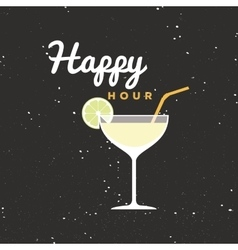 Happy hour label vector