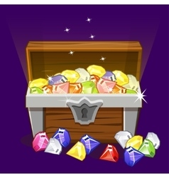 Opened antique treasure chest diamonds vector