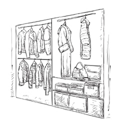 Hand drawn wardrobe sketch vector