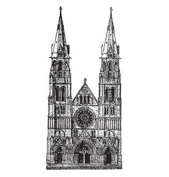 All saints cathedral at albany gothic vintage vector