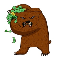 Angry bear with money vector