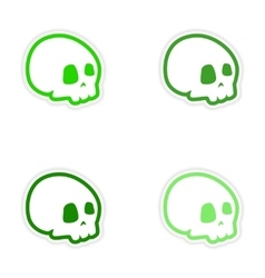 Assembly realistic sticker design on paper skull vector