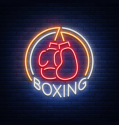 boxing logo neon sign emblem is isolated vector image