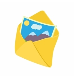 Envelope and photo icon cartoon style vector