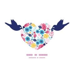 Fairytale flowers birds holding heart silhouette vector