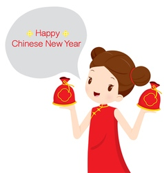 Girl in cheongsam with money bags vector