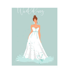 Hand drawn abstract wedding bridal in white vector