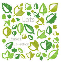 Hand-drawn of simple tree leaves isolated green vector