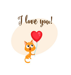 I love you card with cat holding heart shaped vector