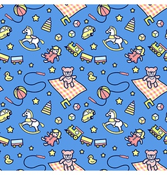 Kid pattern blue vector image