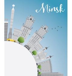Minsk skyline with gray buildings blue sky vector