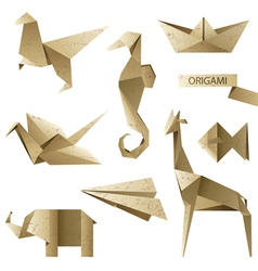 Old-fashioned origami set vector