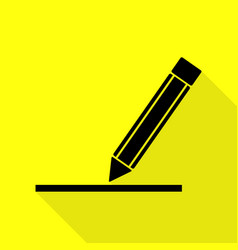 Pencil sign black icon with flat vector