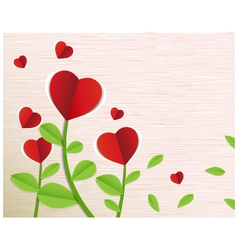 Red paper heart tree vector