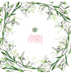 Round frame with pretty snowdrops calligraphy vector