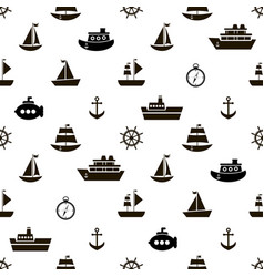 seamless pattern with black sea transport icons vector image
