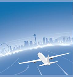 seattle skyline flight destination vector image vector image