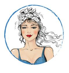 summer girl in bikini with wreath of sea shells vector image vector image
