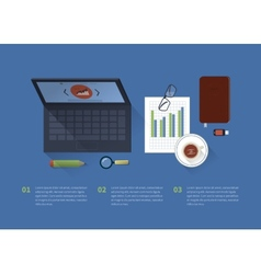 Table with a laptop background office facilities vector image vector image