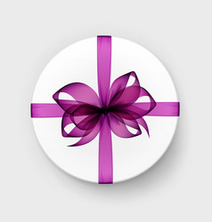 white box with magenta purple bow and ribbon vector image vector image