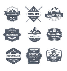 winter sport - vintage set of logos vector image
