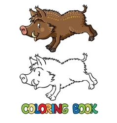 Coloring book of little funny boar or wild pig vector