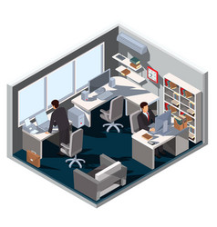 3d isometric interior office vector