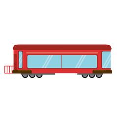 Red train rail passenger transport vector