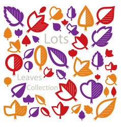 Hand-drawn of simple tree leaves isolated autumn vector