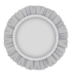 White round cushion with frills mockup vector