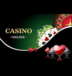 Casino poster includes roulette casino chips vector